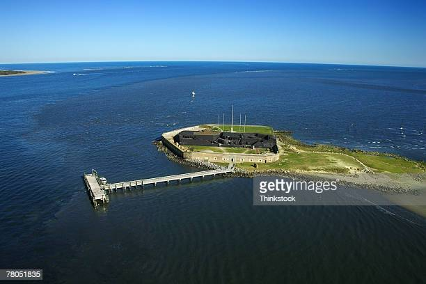 aerial view of fort sumter, mount pleasant, south carolina - fort sumter stock pictures, royalty-free photos & images