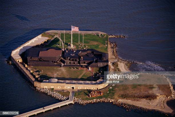 aerial view of fort sumter - fort sumter stock pictures, royalty-free photos & images
