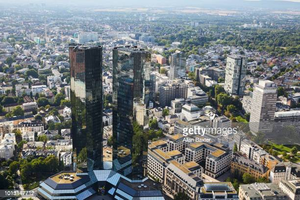 Aerial view of Frankfurt at midday with the Deutsche Bank twin towers