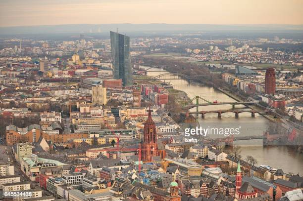 Aerial view of Frankfurt city along the river Main.