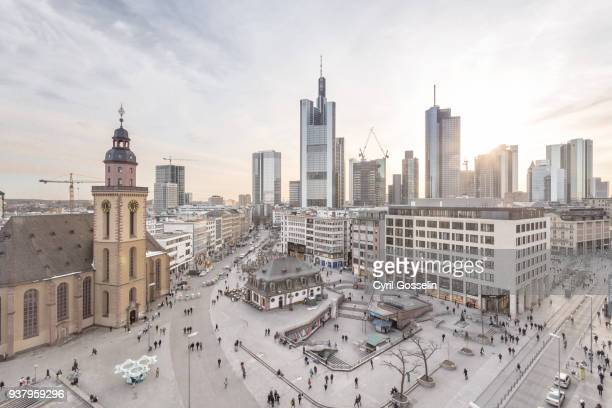 aerial view of frankfurt hauptwache and skyline - town stock pictures, royalty-free photos & images