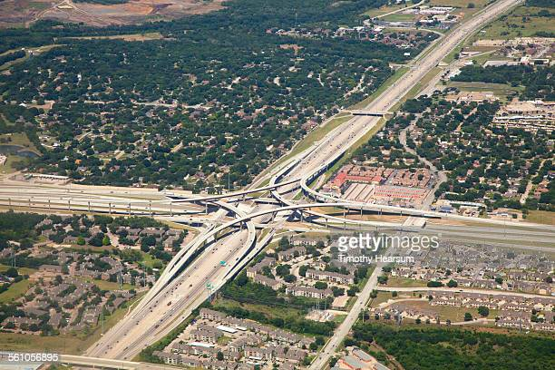aerial view of freeway interchange - timothy hearsum stock pictures, royalty-free photos & images