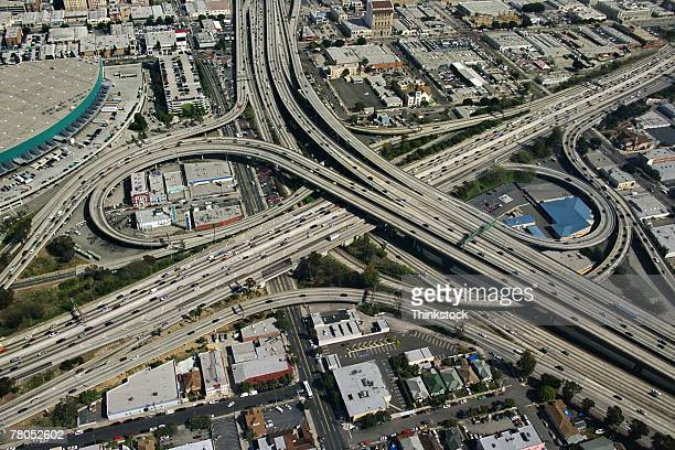 Aerial view of freeways in Los Angeles, California