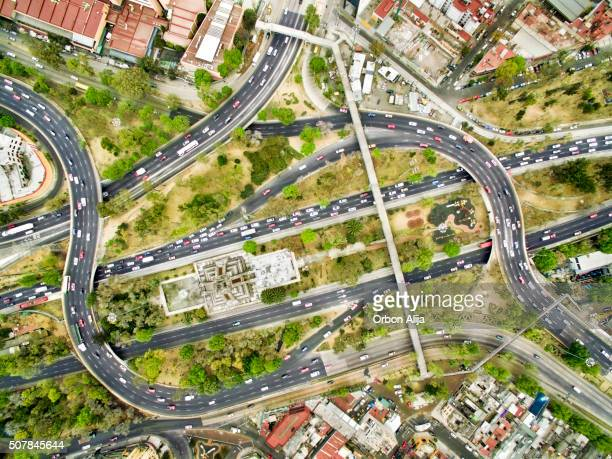 aerial view of freeways in mexico - mexico city aerial stock pictures, royalty-free photos & images