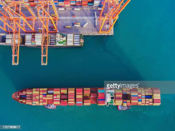 aerial view of freight ship with cargo containers in istanbul - harbour stock pictures, royalty-free photos & images