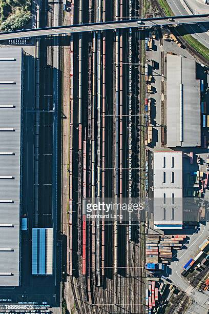 Aerial view of freight trains