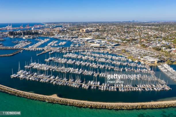 aerial view of fremantle harbor in perth, western australia, australia. - フリーマントル ストックフォトと画像