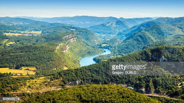 aerial view of french ain river valley in bugey mountains auvergne-rhone-alpes in summer - auvergne rhône alpes stock pictures, royalty-free photos & images