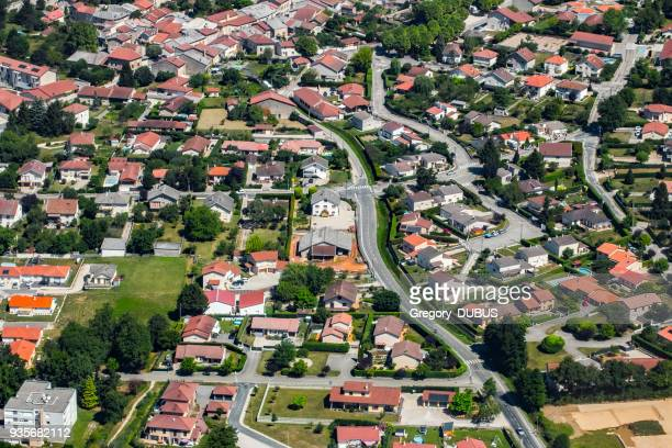 aerial view of french town of ambronay in auvergne-rhone-alpes region streets and houses with yard - rhone alpes stock photos and pictures
