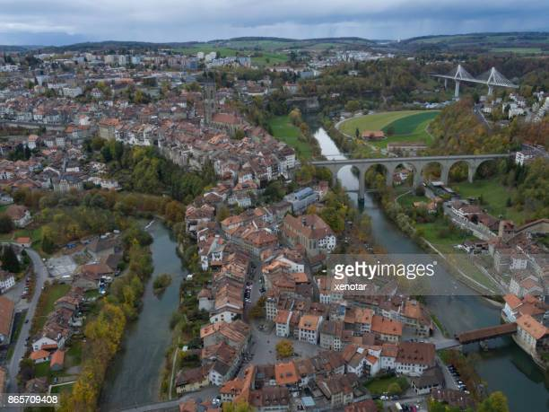 Aerial view of Fribourg cityscape