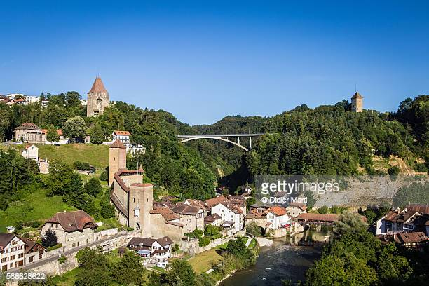 Aerial view of Fribourg in Switzerland