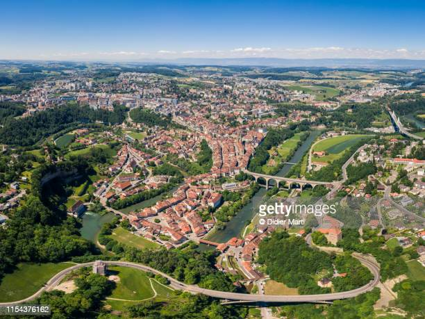 aerial view of fribourg old town in switzerland - フリブール州 ストックフォトと画像