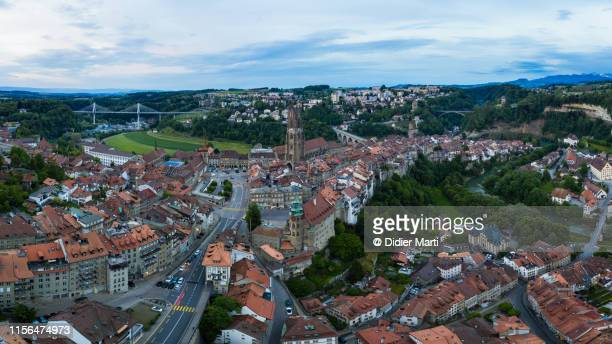 aerial view of fribourg old town - フリブール州 ストックフォトと画像