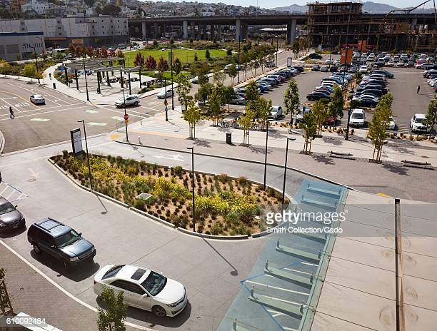 Aerial view of front entrance to the University of California San Francisco medical center in the Mission Bay neighborhood of San Francisco...