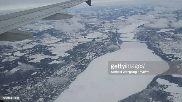 aerial view of frozen mississippi river at minnesota - river mississippi stock photos and pictures