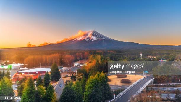 aerial view of fuji kawaguchiko city. - yamanashi prefecture stock pictures, royalty-free photos & images