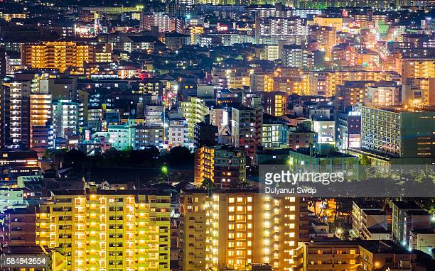 Aerial view of Fukuoka at night