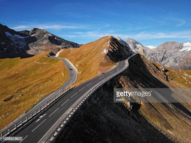 aerial view of fuscher torl pass on grossglockner scenic high alpine road, austria - mountain pass stock pictures, royalty-free photos & images