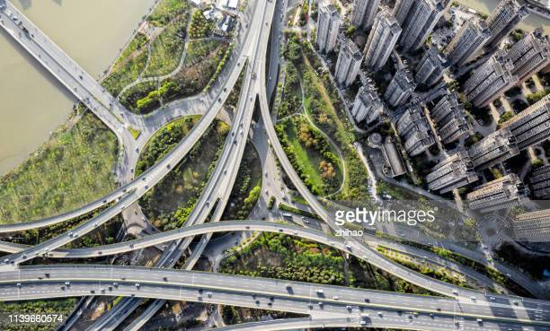 aerial view of fuzhou viaduct in fujian province, china - fuzhou stock pictures, royalty-free photos & images
