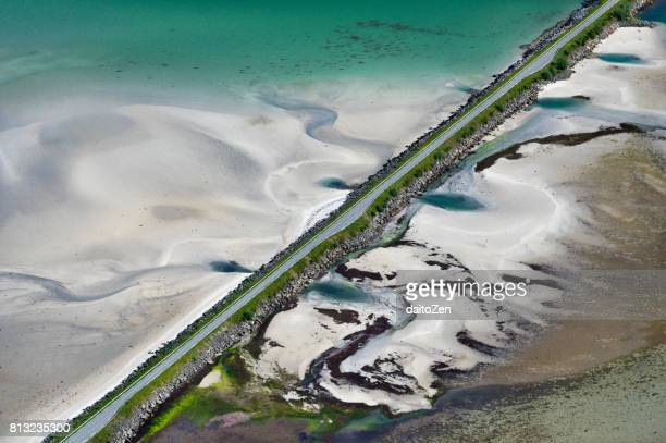 Aerial view of Fv888 country road from mountain Matmora, Lofoten, Nordland, Norway