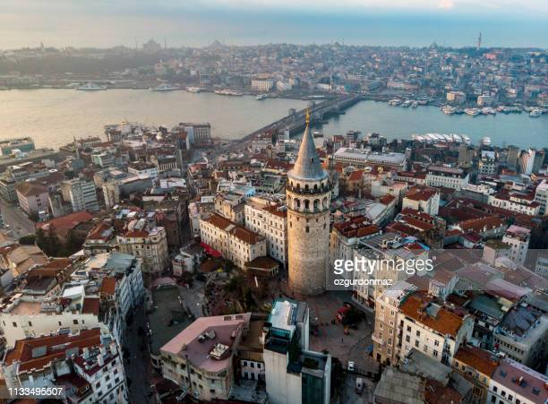 aerial view of galata tower in istanbul, turkey - byzantine stock pictures, royalty-free photos & images