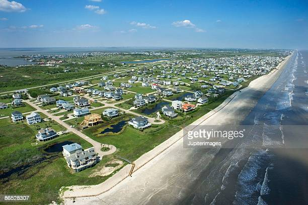 aerial view of galveston, texas - galveston stock pictures, royalty-free photos & images