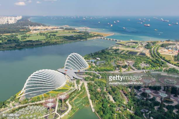 aerial view of gardens by the bay from sand sky park, singapore - singapore botanic gardens stock photos and pictures