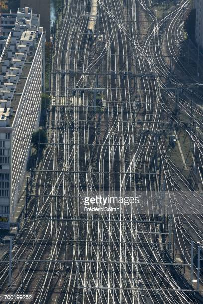 Aerial view of Gare Montparnasse railway terminal on June 16 2017 in Paris France
