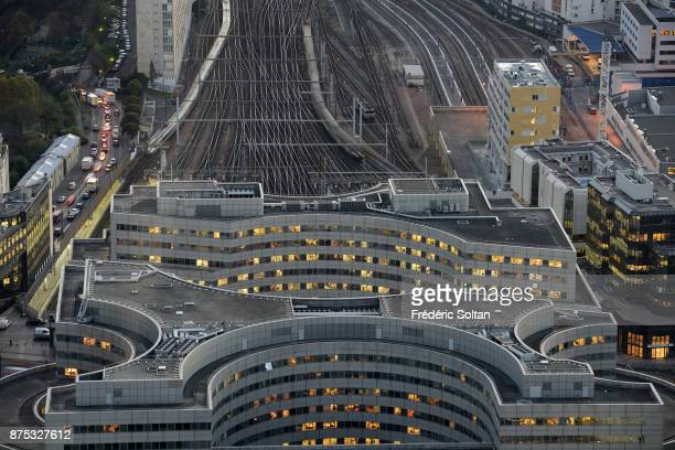 Aerial view of Gare Montparnasse railway terminal on September 20 2015 in Paris France