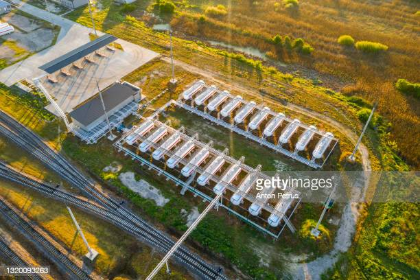 aerial view of gas storage station - ukraine stock pictures, royalty-free photos & images