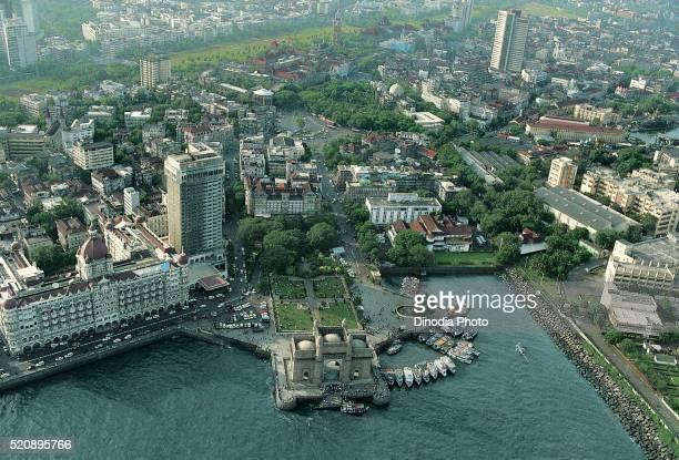 Aerial view of gateway of india at Mumbai, maharashtra, India
