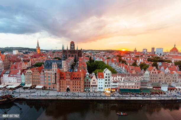 Aerial view of Gdansk during sunset, Poland
