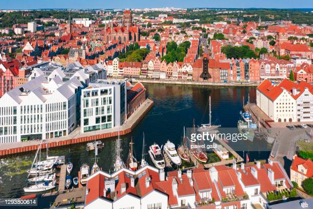 aerial view of gdansk old town with motlawa river in poland - motlawa river stock pictures, royalty-free photos & images