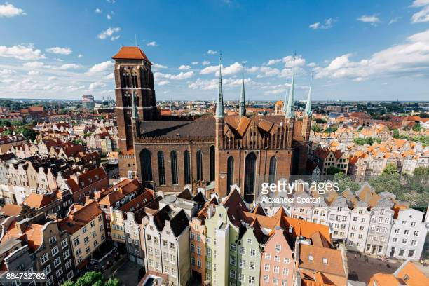 aerial view of gdansk, poland - gdansk stock pictures, royalty-free photos & images