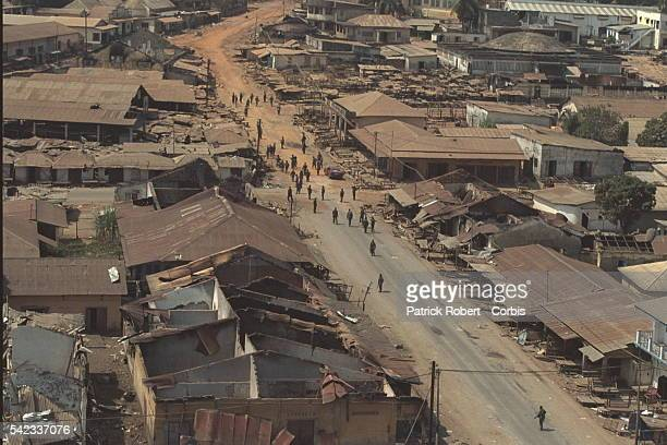 Aerial view of Geckedou looted and destroyed then recaptured by the Guinean Army The popula tion fled the town is under military occupation