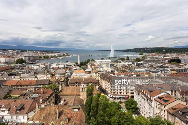 Aerial view of Geneva old town by Geneva lake in Switzerland