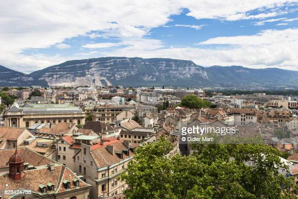 Aerial view of Geneva old town with the Mount Saleve in Switzerland