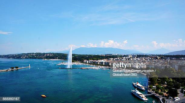 Aerial View of Geneva's Jet d'Eau
