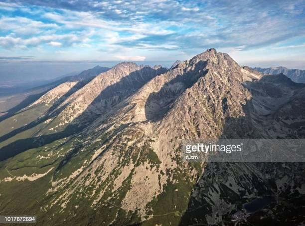 Aerial view of Gerlachov Peak (Gerlachovsky stit) and High Tatras mountains, Slovakia