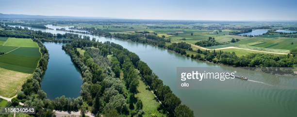 aerial view of german landscape - rhine river - rhine river stock pictures, royalty-free photos & images