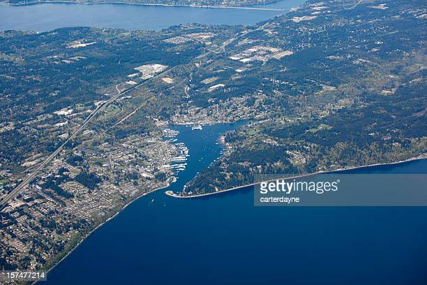 aerial view of gig harbor, puget sound metro area - kitsap county washington state stock pictures, royalty-free photos & images