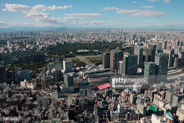 aerial view of ginza, chuo ward, tokyo prefecture, honshu, japan - imperial palace tokyo stock pictures, royalty-free photos & images