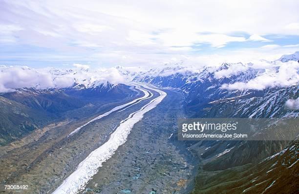 """Aerial view of glacier in St. Elias National Park, Wrangell, Alaska"""