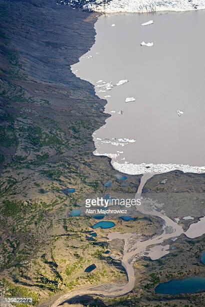 aerial view of glacier terminus near skolai pass, wrangell-st. elias national park, alaska. usa - vista lateral stock pictures, royalty-free photos & images