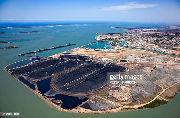 aerial view of gladstone, queensland. - queensland stock pictures, royalty-free photos & images