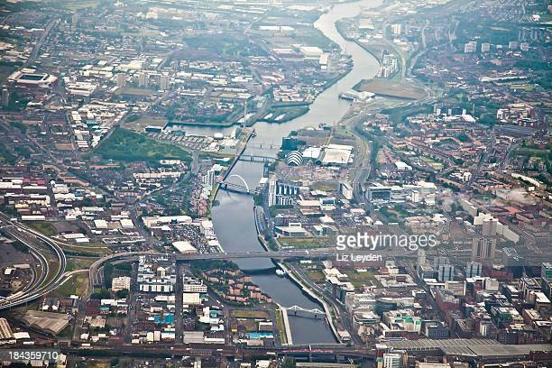 Aerial view of Glasgow city centre looking west