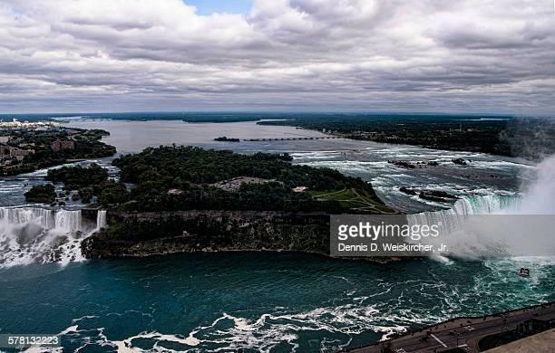 Aerial view of Goat Island and Niagara Falls