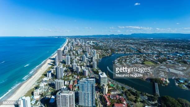 Aerial view of Gold Coast, Australia, looking southward from Surfers Paradise