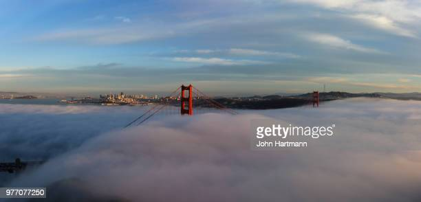 Aerial view of Golden Gate bridge in fog cloud, San Francisco, California, USA