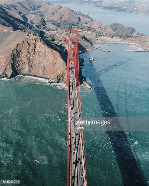 Aerial view of Golden Gate Bridge, San Francisco, California, America, USA
